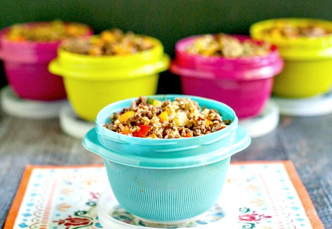 A great low carb lunch from your freezer - Mexican cauliflower rice. Make in one pan and freeze for later. Easy, healthy and tasty low carb lunch.
