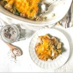 baking dish and white plate with low carb chicken broccoli casserole with text overlay