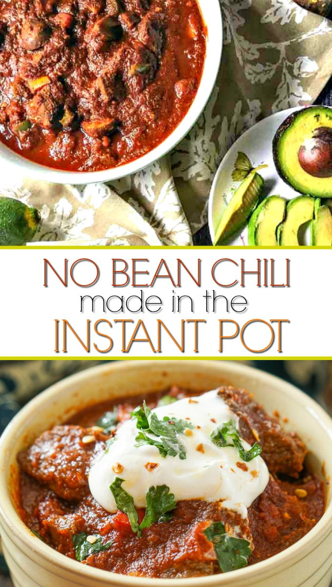 white bowl with chunky beef chili without beans made  in Instant Pot with text