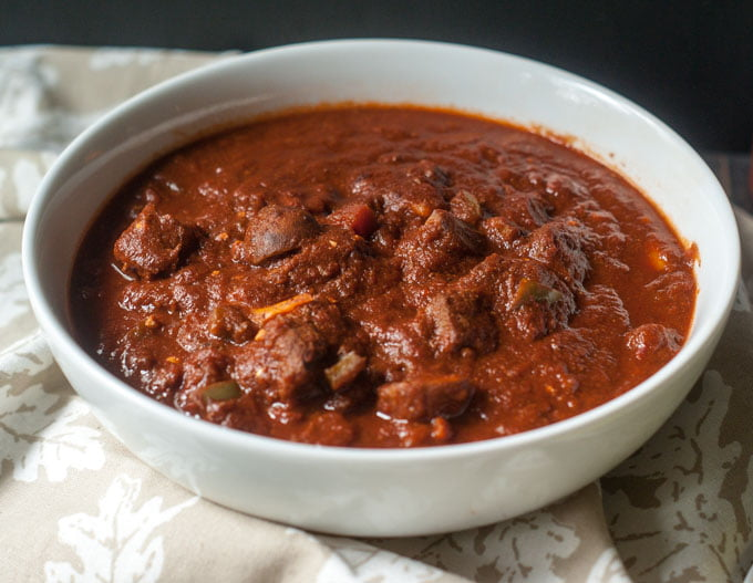 This chunky beef chili without beans is super easy in the Instant Pot but can also be made in the slow cooker. A great dish for those on a Paleo diet or for those who can't tolerate beans.