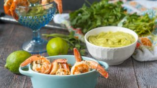 Low Carb Cilantro Lime Shrimp Cocktail with avocado dipping sauce.