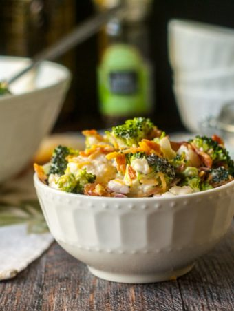 This low carb loaded broccoli cauliflower salad is a great dish to take to a summer picnic or party. Easy to make and only 1.9g net carbs per serving!