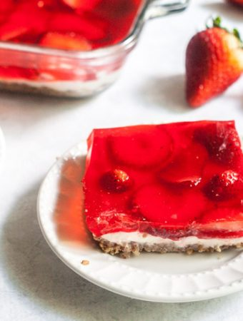 This low carb strawberry pretzel-less dessert is the perfect party or picnic dish. Similar to the traditional salad but with out the pretzels and all the taste!