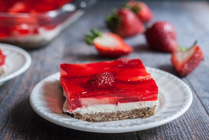 Low Carb Strawberry Pretzel-less Dessert - low carb version