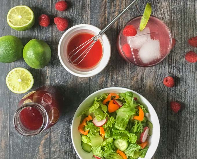 This raspberry lime shrub drink is a great gift for Mother's day. Easy to make and can be used to make a refreshing drink, cocktail, salad dressing and even as a glaze for chicken or fish!