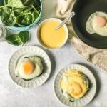 These portobello eggs with hollandaise sauce are a delicious low carb breakfast or lunch. Meaty portobellos, garlicky spinach and a sunny side up egg, topped with a rich and delicious hollandaise sauce.