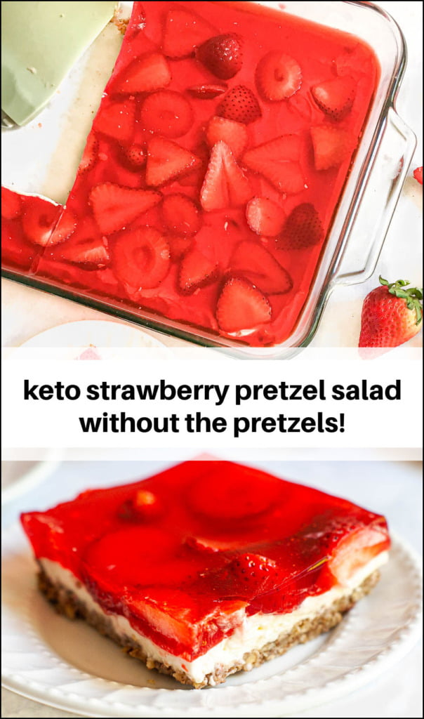 pan and dish with keto strawberry pretzel salad and text overlay