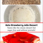 collage of how to make low carb strawberry pretzel salad