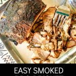 smoked bbq brisket on platter with text overlay