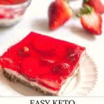 white plate with keto strawberry pretzel salad with text
