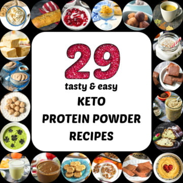collage of keto protein powder recipes with text overlay