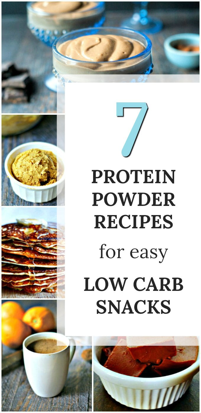 collage of low carb snacks using protein powder with text overlay