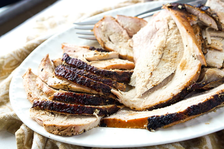 closeup of slices of smoked turkey breast