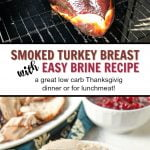 platter with smoked turkey breast and turkey breast in smoker and text overlay