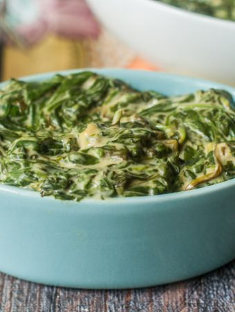 This 3 ingredient slow cooker cheesy spinach is a rich and tasty, low carb side dish that you can make in no time at all! Each serving is only 2.6g net carbs.
