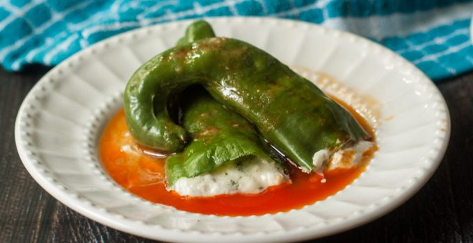 Buffalo Blue Cheese Stuffed Anaheim Peppers (low carb)