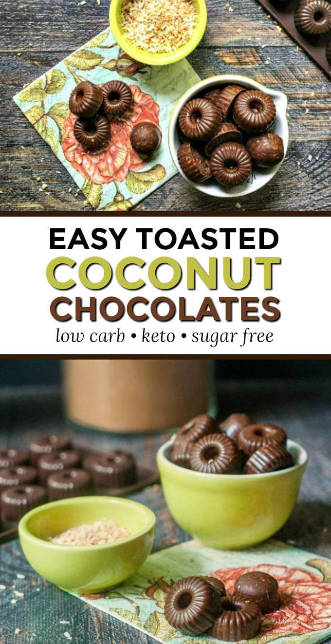 bowl with low carb chocolates and another bowl with toasted coconut and text overlay