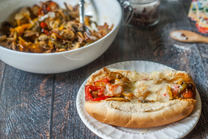 This Philly Mushroom Swiss Hot Dog is an easy and tasty way to dress up your dog. Onions, peppers, mushrooms and Swiss cheese make the perfect complement to a salty hot dog. And of course we have 2 low carb versions for you to try as well!