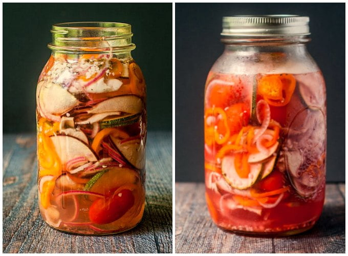These refrigerator pickled ratatouille vegetables are great for relish trays, sandwiches or just eating out of the jar. A great summer snack to make with vegetables from your garden!