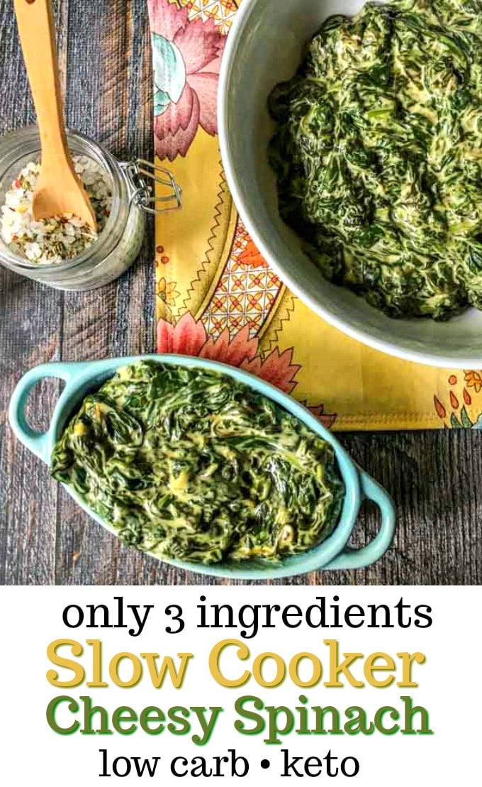 blue bowl with low carb cheesy spinach and wooden spoon and text overlay