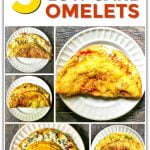 white plates with 5 keto omelets and text overlay