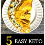 white plate with a keto omelet and text overlay