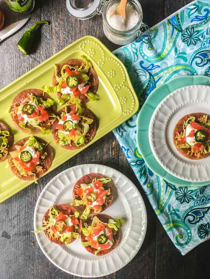 These low carb salami tostadas are a delicious snack and only take 5 minutes to make.  Just 1 tostada has only 0.6g net carbs and makes a great appetizer too!
