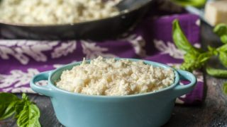 Easy Keto Asiago Cauliflower Rice - 3 ingredients & done in 15 minutes!
