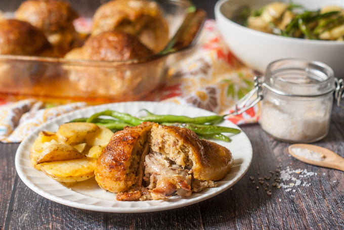 These chicken thighs with low carb sausage stuffing make a delicious and hearty low carb dinner for any night of the week. The stuffing is also gluten free and would be a great Paleo dinner as well.