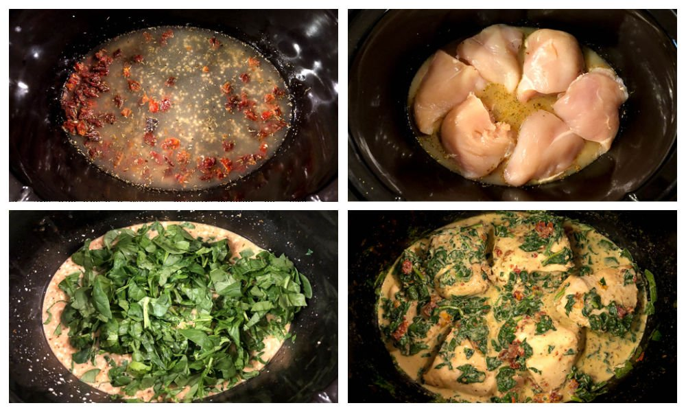 collage of steps to make the creamy chicken recipe
