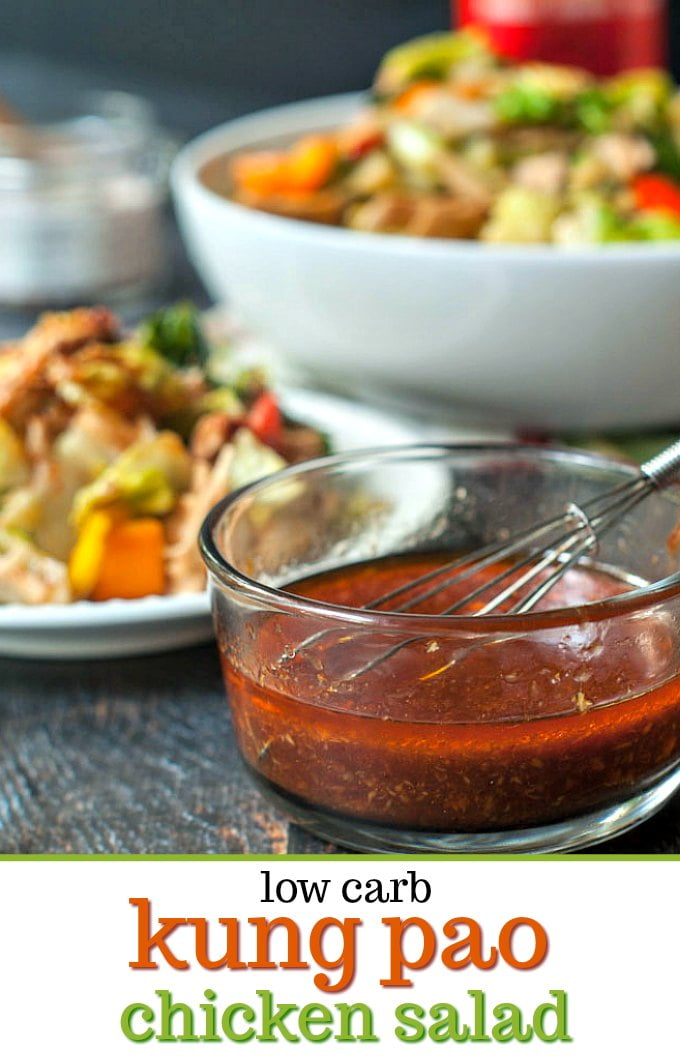 bowl of Chinese salad dressing with kung pao chicken salad in background and text overlay