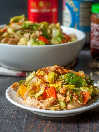 This Kung Pao chicken salad is a refreshing and low carb dish that you'll love. The Kung Pao dressing is full of flavor and easy to whip up.