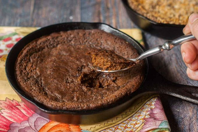 This low carb mini skillet chocolate cake is a delicious treat for your sweet tooth. Moist and chocolatey cake you can eat right out of a skillet and only 4.3g net carbs per serving!