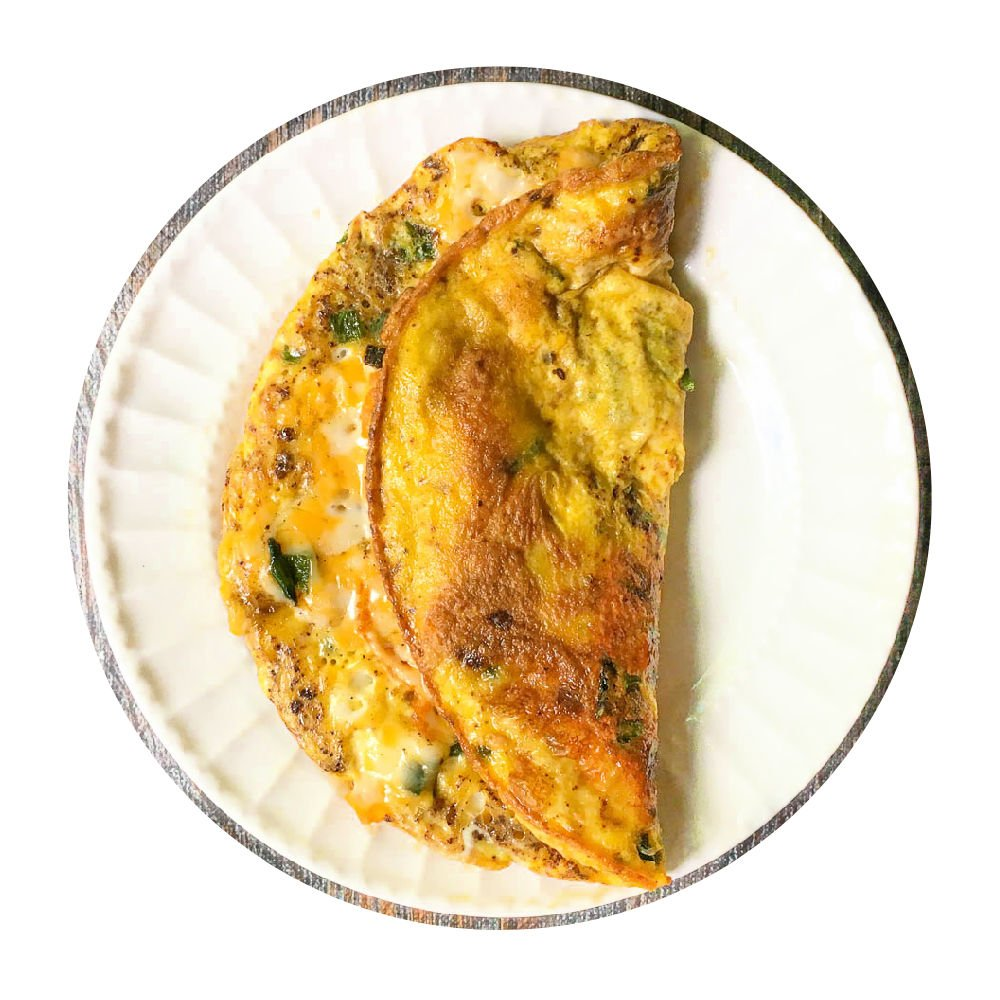 low carb Mexican green Chile omelet on a white plate