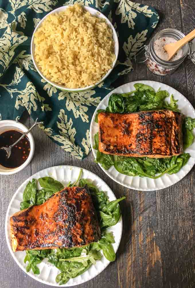 Need quick and easy dinner? This chili soy salmon is awesome and only takes 4 ingredients and 15 minutes to make. I like it because it's fairly low carb (4.3g net carbs) and my family loved the spicy, sweet flavors.