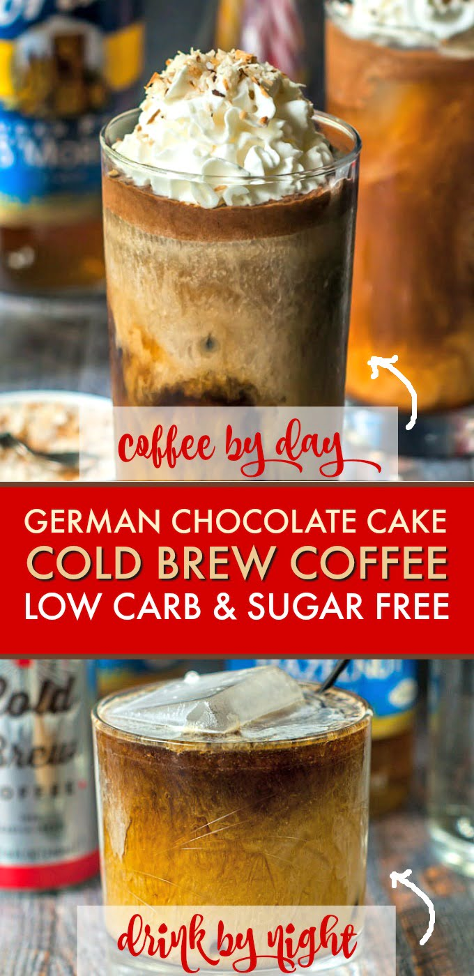 This German chocolate cake cold brew coffee is a great afternoon treat that you don't have to feel guilty about as it's sugar free and low carb!