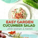 blue plate with creamy cucumber salad with bacon and text overlay