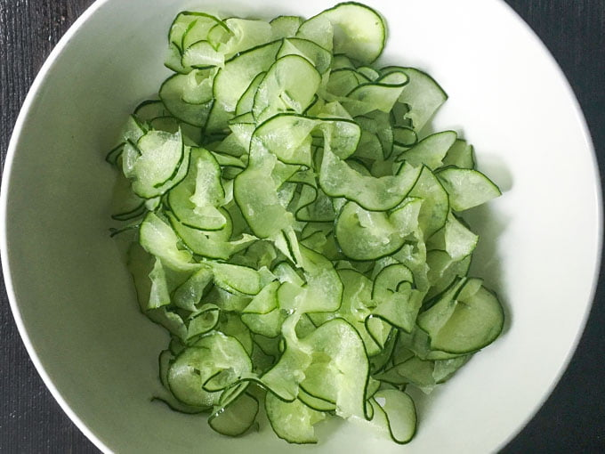 bowl of raw cucumber noodles