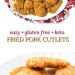 white platter with keto fried pork cutlets with floral cloth and text overlay