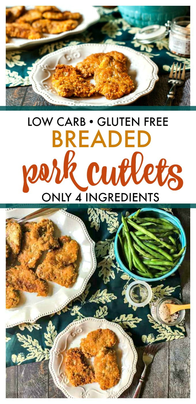 These low carb breaded pork cutlets are an easy and delicious dinner that only uses 4 ingredients. Only 0.2g net carbs per piece of breaded pork.