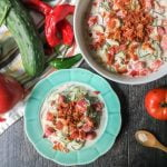 This ranch bacon cucumber & tomato salad is creamy and cool and has that salty crunch of bacon. A delicious way to use fresh tomatoes and cucumbers from the garden.