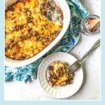 white baking dish with keto cauliflower cheeseburger casserole and text