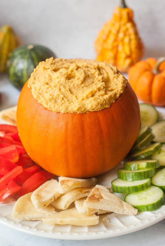 This easy spicy pumpkin hummus is an quick appetizer that's perfect for fall parties.