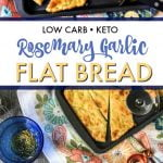collage of keto flatbread with text overlay