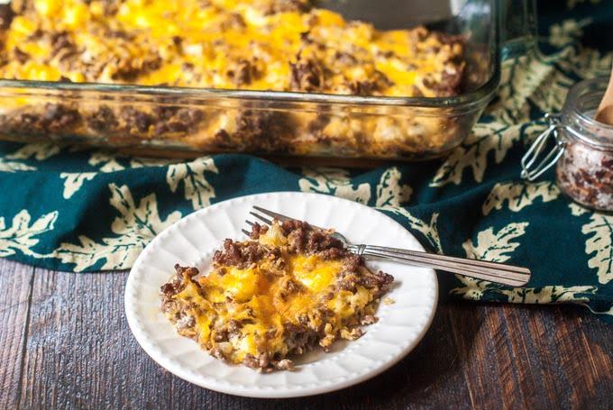 Keto Cauliflower & Cheeseburger Casserole - low carb ground beef dinner!