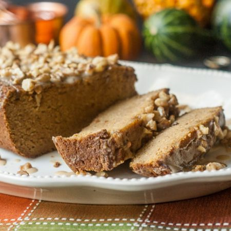 This pumpkin bread with maple walnut glaze is so good you won't believe it's gluten free and sugar free! Perfect with a good cup of tea or coffee over the holiday season.