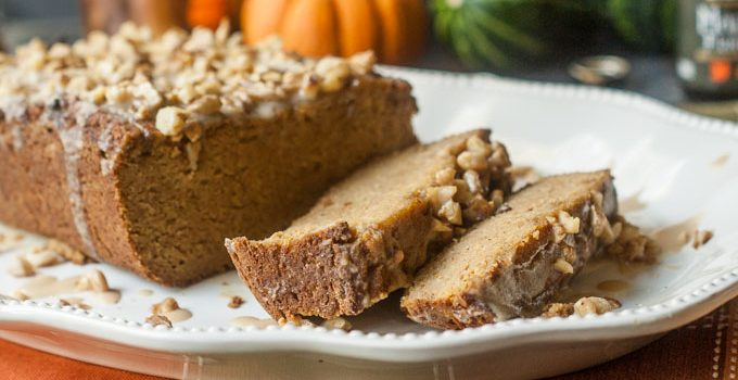 Pumpkin Bread with Maple Walnut Glaze (gluten free, sugar free) #SundaySupper