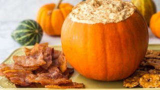 Pumpkin Cheesecake Dip with Bacon Chips