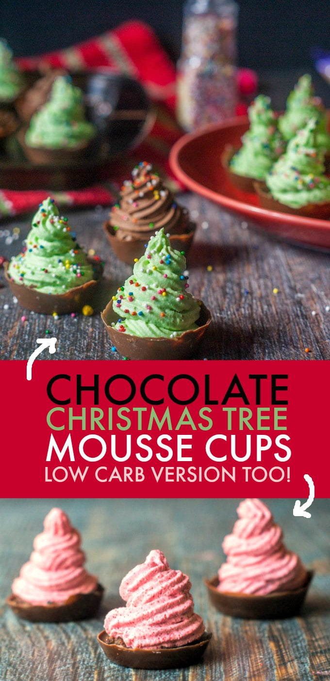 These tasty chocolate Christmas tree mousse cups are a breeze to make with only 4 ingredients and will be a festive touch for the holiday celebrations. I also have a low carb version that you will love too.