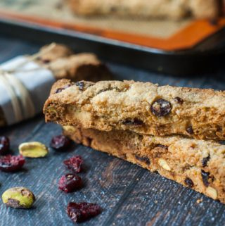 Not only are these holiday cranberry & pistachio biscotti gluten free, but they are low carb too! So if you want to make a very easy gift for someone on a low carb diet, you have to make these low carb treats. Only 2.3g net carbs per cookie.